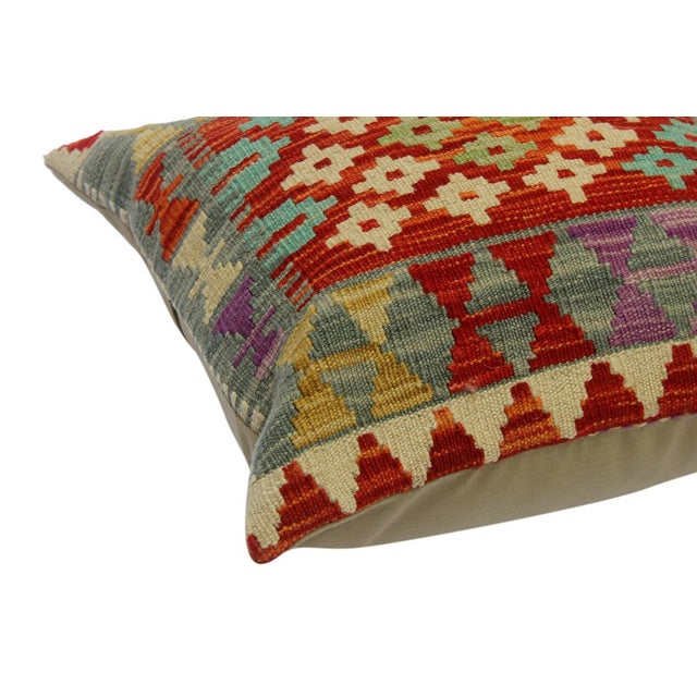"""Cheri Red/Gray Hand-Woven Kilim Throw Pillow(18""""x18"""") For Sale - Image 4 of 6"""