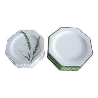 Vintage Paradox Octagon Shaped Ceramic Dinner and Salad Plates Featuring Foliage and Textured Rope Edge Made in Italy - Set of 12 For Sale
