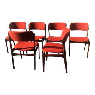Vintage Mid Century Erik Buch Danish Rosewood Chairs- Set of 6 For Sale