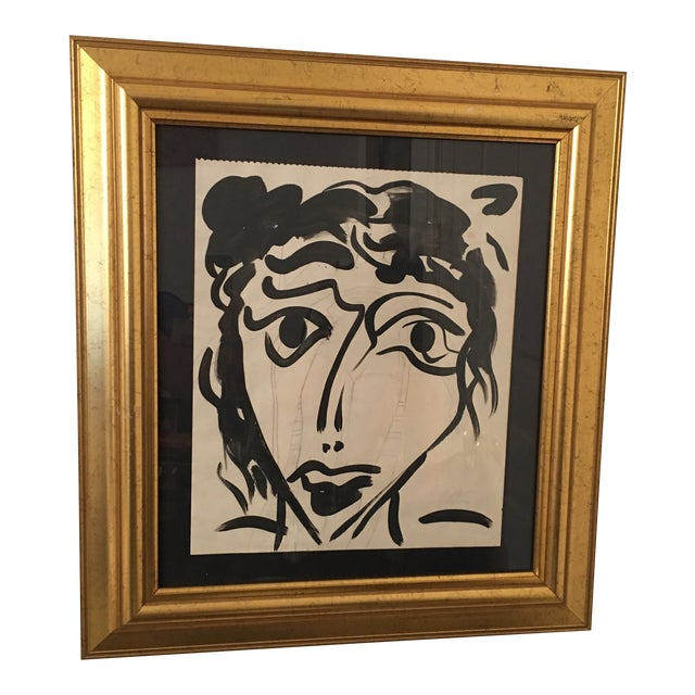 1960s Vintage Peter Keil Abstract Female Face Painting For Sale