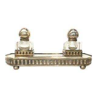 Antique Art Deco 1930s Viennese Secessionist Silver Inkwell Set For Sale