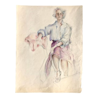 Vintage Pencil Drawing of a Woman in a Purple Skirt For Sale