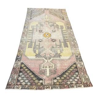 Vintage Turkish Anatolian Rustic Handmade Wool Rug- 3′9″ × 8′6″ For Sale