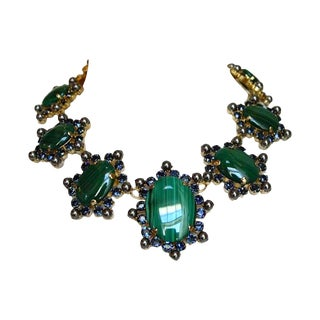 Philippe Ferrandis Malachite and Glass Pearl Necklace For Sale