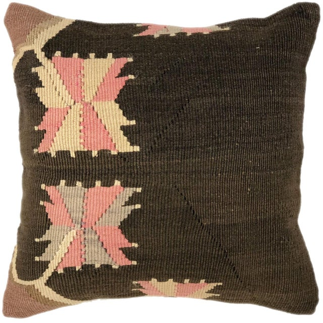"""Shabby Chic Pop of Pink Vintage Kilim Pillow 