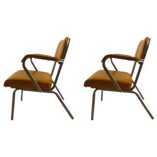 Pair of Eck Adams Steel and Vinyl Armchairs For Sale
