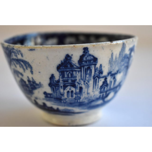 White Antique Georgian C. 1815 Staffordshire Blue Transferware Tea Bowl For Sale - Image 8 of 10