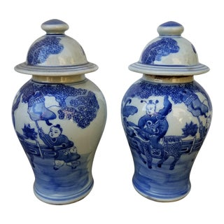 Chinese Hand Painted Ginger Jars For Sale