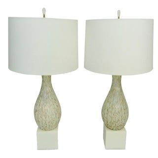 Mid-Century Modern Seguso Gold Murano Glass Lamps - a Pair For Sale