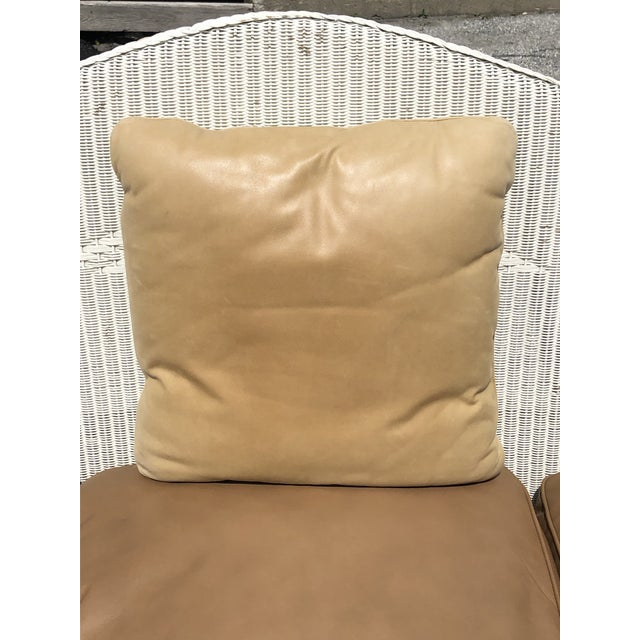 Traditional Vintage Heywood Wakefield Wicker Settee with Pillows For Sale - Image 3 of 12