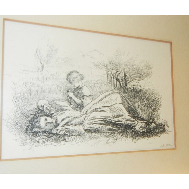 """Presented here is a STUNNING Vintage Black and White Etching Drawing Titled """"Summer Indulgence"""" by Sir John Everett..."""