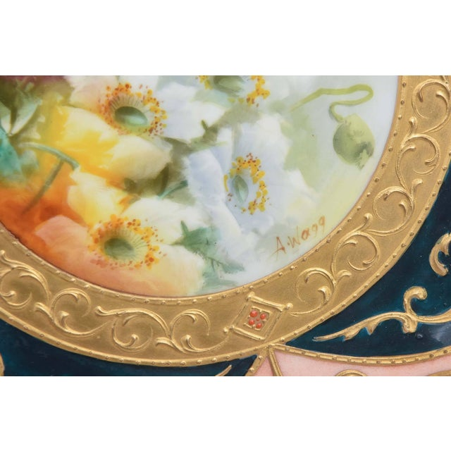 Exquisite and Elaborate Cabinet or Display Plates Pair, Fine Art Gilt Encrusted For Sale - Image 4 of 9