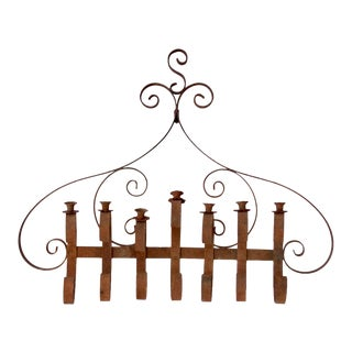 Antique Wrought Iron Wall Candle Holder For Sale