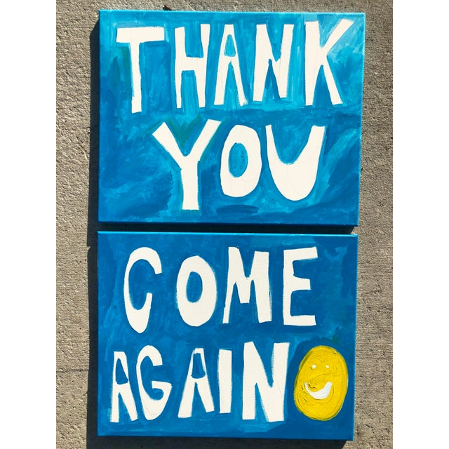 """""""Thank You, Come Again"""" paintings—a pair by artist Virginia Chamlee. Features shades of blue, white, and yellow. From the..."""