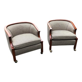 John Stuart Club Chairs in New Glen Plaid Upholstery- a Pair For Sale