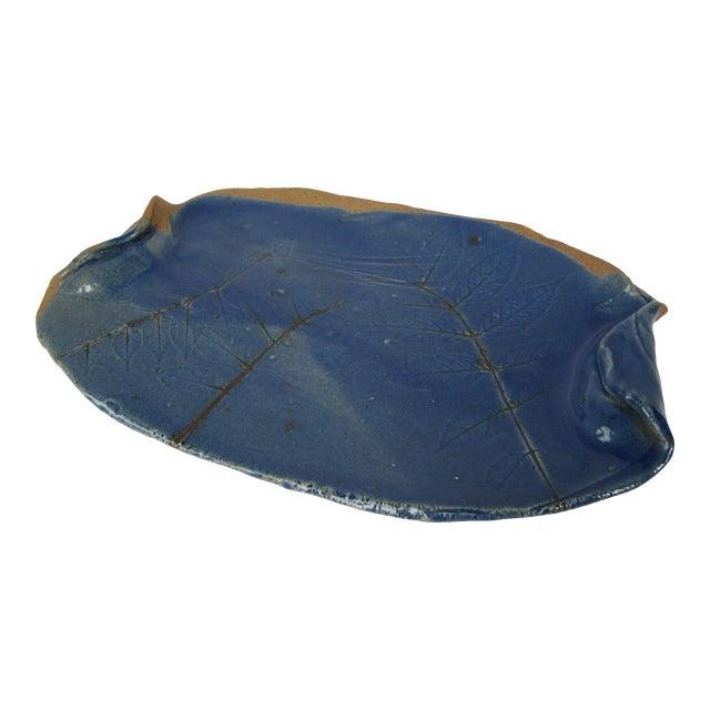 Cobalt Blue Hand-Made Pottery Serving Platter-Blue With Leave Details For Sale