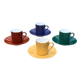 Limoges Colorful Espresso Cups & Saucers by Laure Japy Paris - Set of 4 For Sale