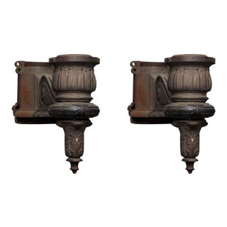 Large Cast Iron General Electric Lamp Post Sconces - A Pair