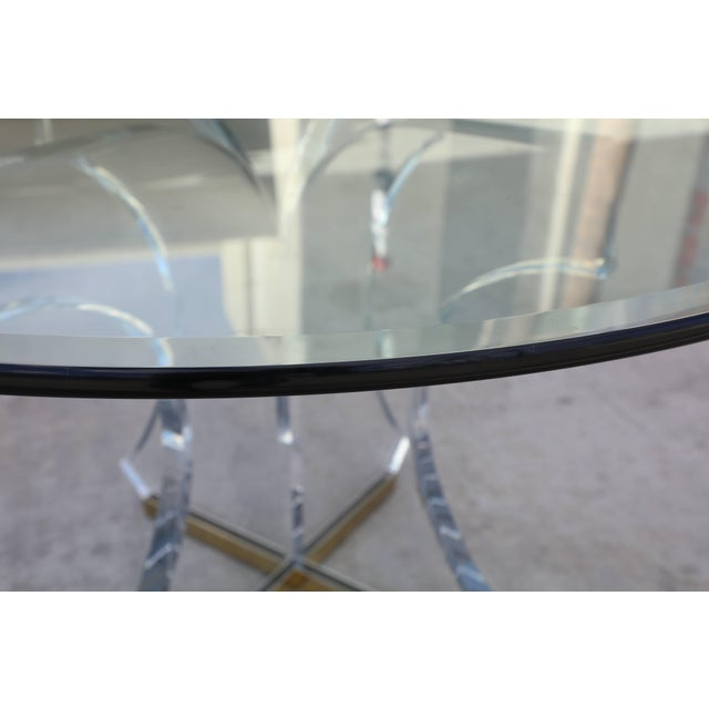 Lucite and Glass Dining Table With Brass Base For Sale - Image 9 of 10