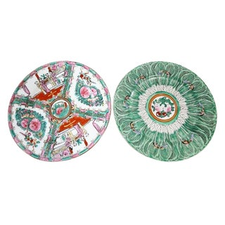 Vintage Rose Medallion & Bok Choy Chinoiserie Plates, Pair For Sale