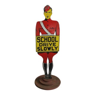 1920s Freestanding Figural Traffic Sign For Sale