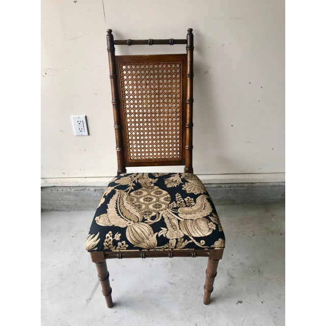 Asian 1960's Vintage Cane Back Faux Bamboo Dining Chairs- Set of 10 For Sale - Image 3 of 12