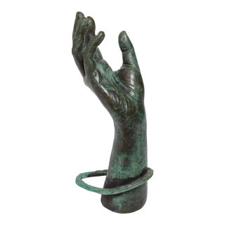 Late 20th Century Bronze Hand Sculpture For Sale