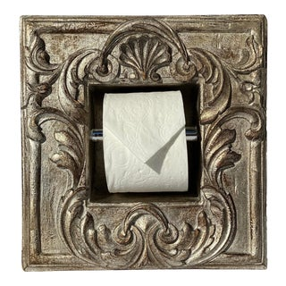 """Italian Baroque Style Bathroom Holder in """"Bartolo"""" Silvered Parcel-Gilt by Judson Rothschild for The Rothschild Collection For Sale"""