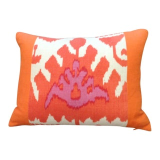 Traditional China Seas Orange Ikat Lumbar Pillow