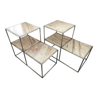 Chrome/Marble Side Tables/Set Of 2