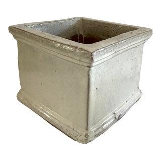 1960s Taupe Glazed Terra Cotta Cache Pot For Sale