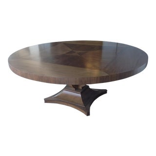 Art Deco Large Round Walnut Dining Table For Sale