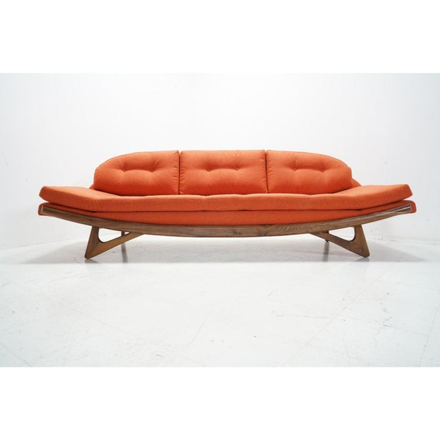 Orange Attributed Adrian Pearsall Gondola Sofa For Sale - Image 8 of 8