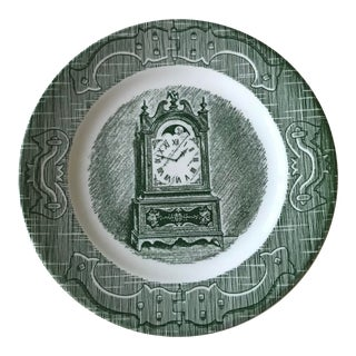 1960s Boho Chic Green Porcelain Dish With Clock Painting For Sale