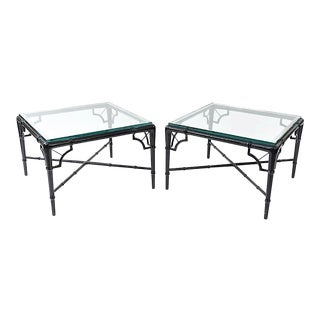 20th Century Hollywood Regency Faux Bamboo Side Tables - a Pair For Sale
