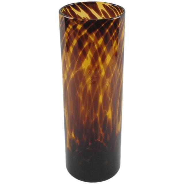 Empoli for Christian Dior Modernist Tortoiseshell Glass Tumbler Vase For Sale