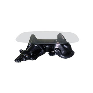 Plaster Black Panther Cocktail Table With Og Smoked Glass Top For Sale