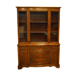 1960s Vintage Mahogany Display China Cabinet For Sale