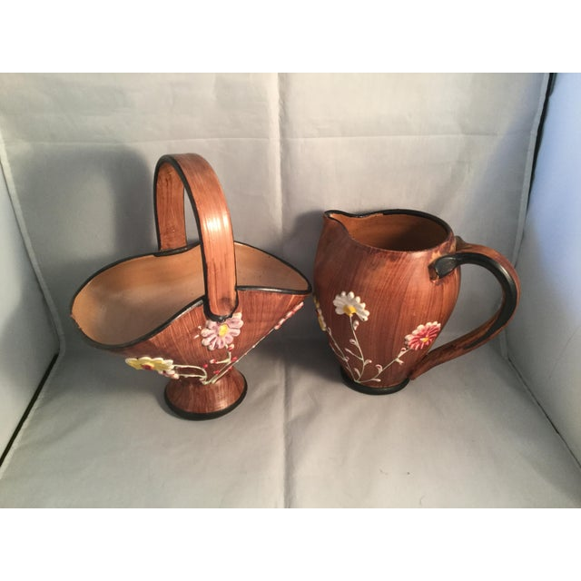 Art Deco 1990s Art Deco Ceramic Basket and Pitcher - 2 Pieces For Sale - Image 3 of 7