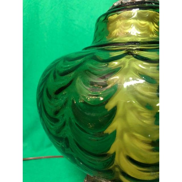 Vintage Hollywood Regency Green Glass Lamp For Sale - Image 5 of 7