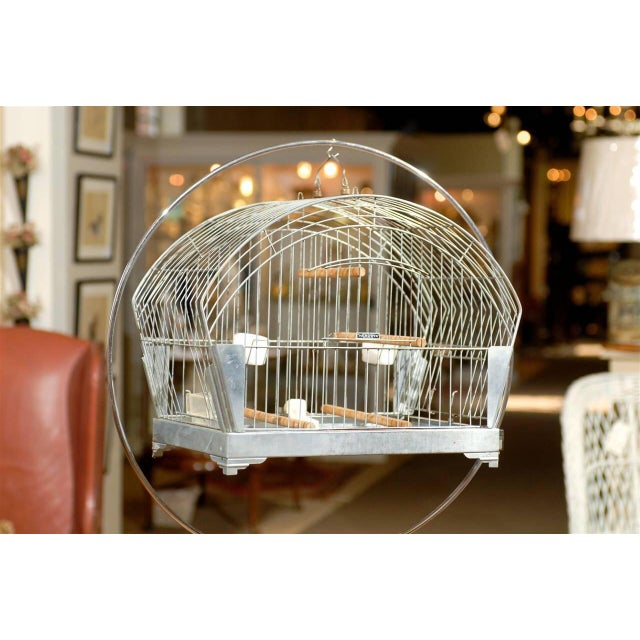 Art Deco Hendryx American Art Deco Bird Cage on Stand For Sale - Image 3 of 5