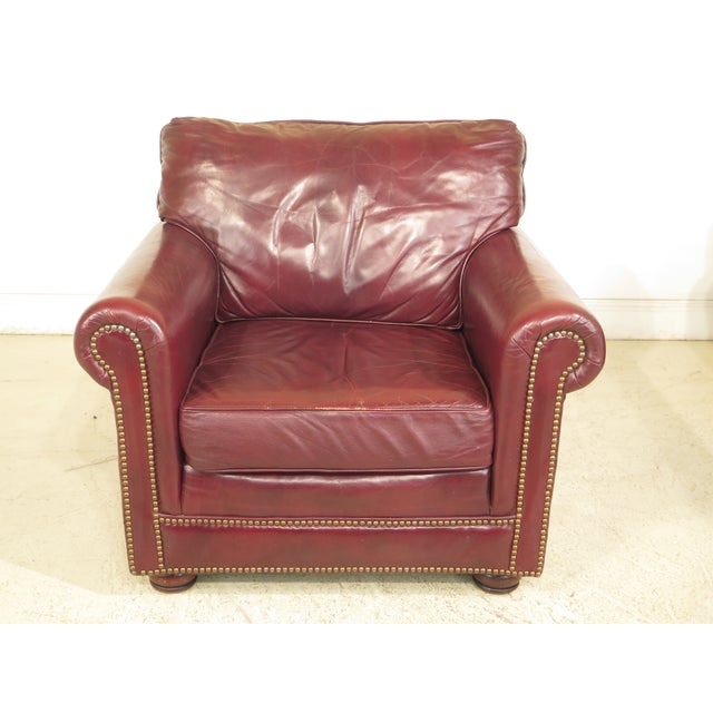 Burgundy Leather Club Chairs - A Pair - Image 2 of 13