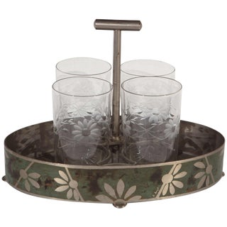 Dinanderie Cocktail Caddy & Glasses - 5 Pieces For Sale