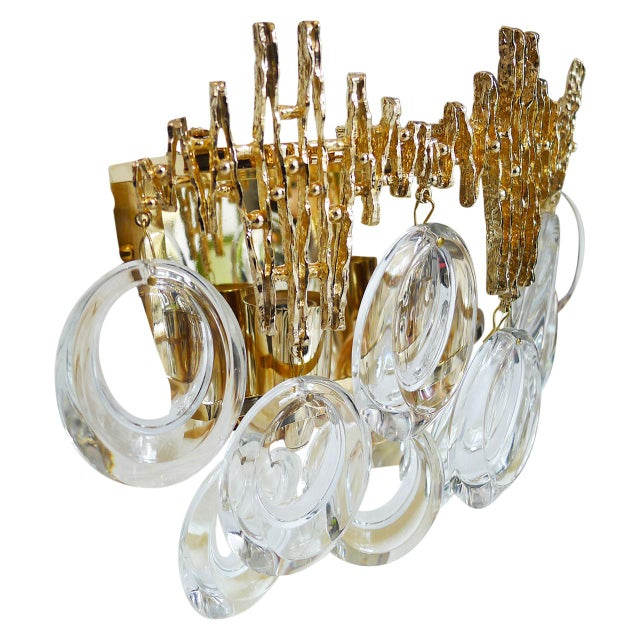 Pair of Gilt Brass & Crystal Brutalist Sconces by Palwa - Image 2 of 4