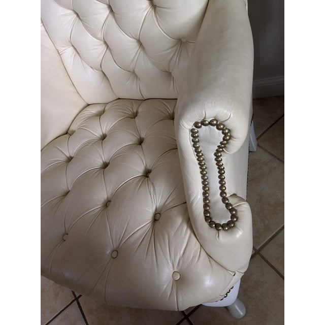 Mid-Century Chesterfield Tufted White Leather Wingback Chair For Sale In New York - Image 6 of 9