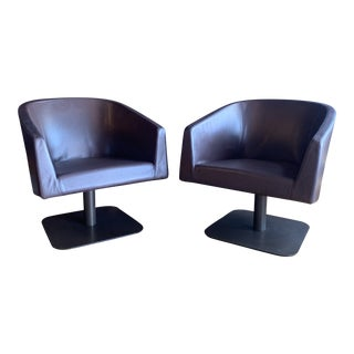 Bernhardt Leather Accent Chairs - a Pair For Sale