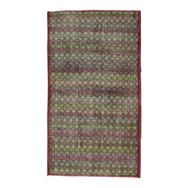 Vintage Turkish Art Deco Hand-Knotted Rug - 4′2″ × 7′4″ For Sale
