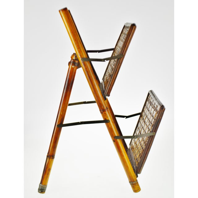 Mid 20th Century Mid Century Bamboo and Rattan Two Tier Folding Magazine Rack For Sale - Image 5 of 13
