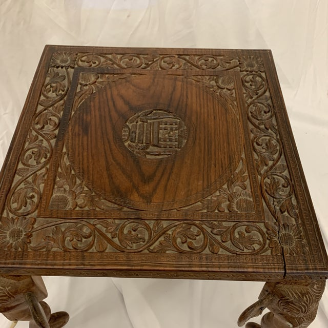 1960s Anglo Indian Rosewood Elephant Accent Table For Sale - Image 5 of 11