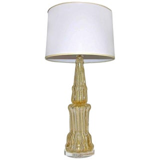 1960s Hollywood Regency Barovier Murano Gold Table Lamp For Sale